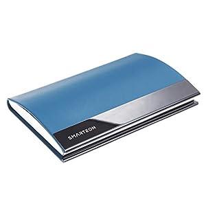SMARTEON   Visitenkartenetui blau   Premium Visitenkartenhalter zur schonenden Aufbewahrung Ihrer Karten   Hochwertige…