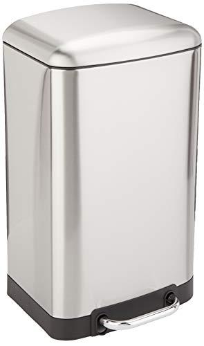 AmazonBasics Poubelle rectangulaire à fermeture douce avec pédale en acier, 20L, nickel