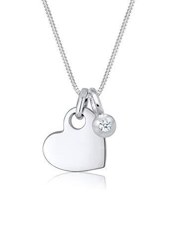 Elli Premium Damen-Ketten mit Anhänger Diamant 0107672017_45 - 45cm Länge