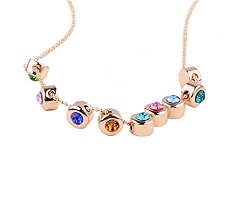 Lily Jewelry Colorful Round Swarovski Element Crystal Rainbow Gold Tone Necklace For Women