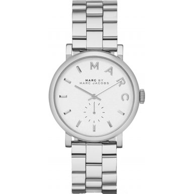 Marc Jacobs Women's Quartz Watch with White Dial Analogue Display and Silver Stainless Steel Bangle MBM3242