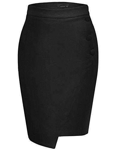 Asymmetrische Baumwolle Rock (AIMADO Damen asymmetrische Bleistiftrock Hohe Taile Unterrock aus hochwertigen Baumwollmischung Rock, Schwarz 2, Gr. XL)