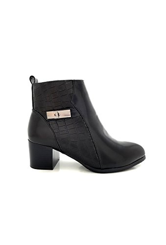 CHIC NANA . Chaussure Femme Bottine Low Boots Richelieu Style Similicuir Vernis, Bride Cheville, Effet Croco.