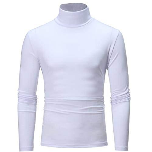 qulvyushangmaobu Männer Baumwolle Slim T-Shirt Langarm-Pullover mit einem Kragen Ausschnitt High-Neck-T-Shirt einfarbig Hemd Pullover Herbst und Winter Langarm-Freizeithemd Hemd Sweatshirt