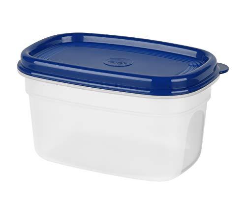 Emsa 517091 Superline Frischhaltedose eckig, Fassungsvermögen: 0,5 Liter, Weiß/Blau