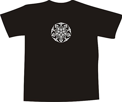 T-Shirt E1122 Schönes T-Shirt mit farbigem Brustaufdruck - Logo / Grafik / Design - abstraktes Ornament mit schönen Ranken und Blättern Schwarz