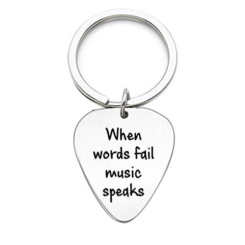 lüsselanhänger mit Gravur When Words Fail Music Speaks Round Schlüsselring Gitarren Pick Schlüsselbund Silber Liebesgeschenk ()