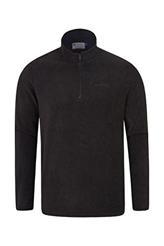 Mountain Warehouse Herren-Camber-Fleece - Ultraleicht, atmungsaktiv, wasserdichte Jacke, schnell trocknend, Antipilling-Sweatshirt, extra Belüftung - zum Wandern, Frühling Schwarz Medium Herren-fleece-sweatshirt-jacke
