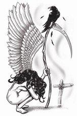 Tinsley Transfers Engel des Todes temporäre Tätowierung (Halloween-make-up-engel Des Todes)