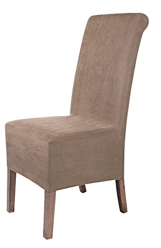SCHEFFLER-HOME Leon Suede Chair Covers for Dining Room 2 Pcs, Stretch Chaircover, Bi-elastic Slipcover, Cover with Elastic Band, universal Fitting, Possible seat height coverage 22-25 cm - Taupe