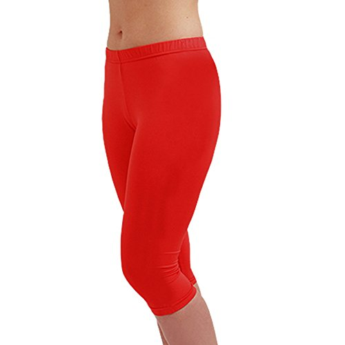 e8d5f720e00 Compression Footless Tights Leggings for Women Girls Capri Cropped Base  Layer EC Red L - Buy Online in Oman.