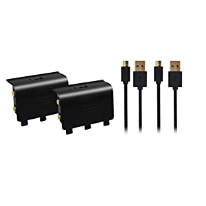 Xbox One – Play and Charge Kit Doppelpack – 2 x 800 mAh Akku und 2 x 2 Meter Ladekabel