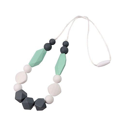 TYRY.HU Baby Zahnen Halskette für Mama zu tragen BPA frei Lebensmittelqualität Silikon Silikon kaubare Perlen Greiflinge zum Stillen Pflege handgemachtes Geschenk (Mint Grün)