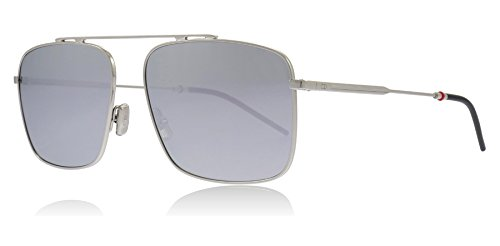 Dior Homme 0220S 010 Palladium 0220S Square Pilot Sunglasses Lens Category 3 Lens Mirrored Size 58mm