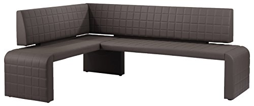 Cavadore Eckbank rechts Cobra / Gepolsterte Kunstleder-Sitzbank dunkelbraun / 161 x 211cm / Höhe: 95 cm / Tiefe: 45cm Leder Bett-bank
