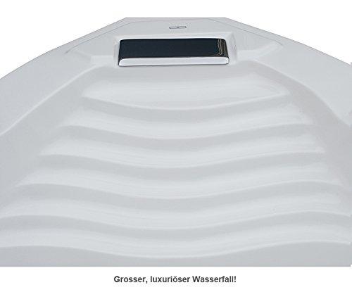 Whirlpool Badewanne St. Tropez mit 14 Massage Düsen + Heizung + Ozon Desinfektion + LED Unterwasser Beleuchtung / Licht + Wasserfall + Radio - Sprudelbad Hot Tub indoor / innen günstig - 3