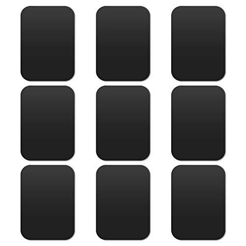 MOSUO 9 Stück Metallplatte Metallplättchen Selbstklebend Set (9 Rechteck) mit 3M Kleber für Magnet kfz Handyhalter fürs Auto Sehr Dünn Metallplatten für Handy und Tablet, Schwarz