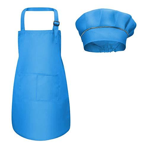 Fodlon grembiule per bambini + cappello da cuoco, grembiule da cucina regolabile per bambini con tasche grembiule da chef per cucinare e cuocere la pittura 4-12 anni (rosso, l) (blu)