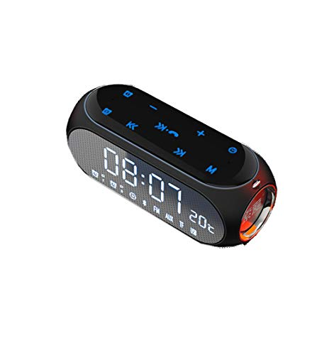 JINRU Tragbare Bluetooth-Lautsprecher-, 8H Play/Voice Call/FM Radio/Alarm/Temperature Display/Touch Screen Operation,Black