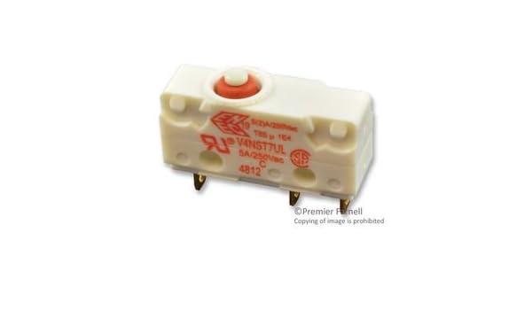 30 VDC V4NST7UL 5 A SPDT V4NST7UL Pack of 10 Subminiature Microswitch Solder Plunger