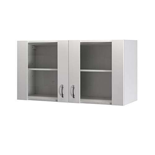 Flex-Well Glas-Hängeschrank UNNA   Oberschrank vielseitig einsetzbar   2-türig   Breite 100 cm   Weiß