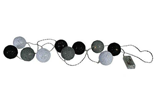 LED Lichterkette mit schwarz/weiß/grauen Rattan-Kugeln 1,3 m