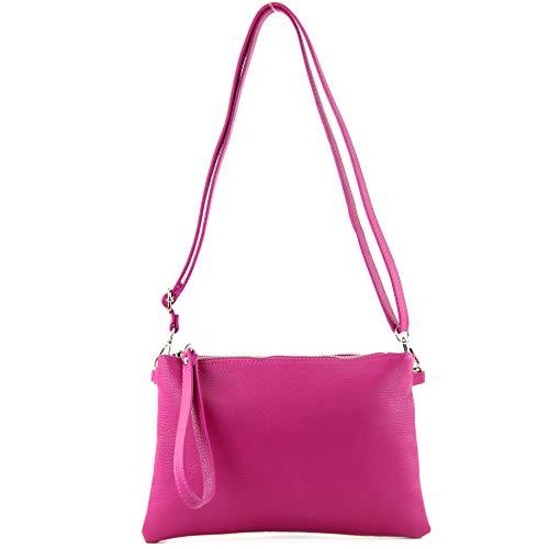 modamoda de - T186 - ital. Clutch/Umhängetasche Leder Medium, Farbe:Pink Hand Taschen