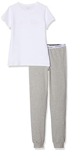 Calvin Klein Mädchen Ss Knit Pj Set Zweiteiliger Schlafanzug, Weiß (White/Grey Htr 926), One Size (Herstellergröße: 12-14) -