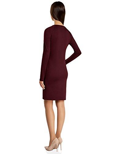 oodji Collection Damen Jerseykleid mit Zierreißverschlüssen auf den Schultern Rot (4900N)