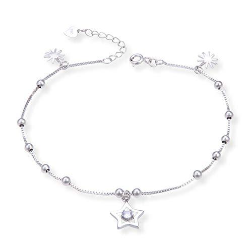 Beglie Damen Fußkettchen 925 Sterling Silber Gänseblümchen Knöchel Fußkettchen Silber Geschenk für Damen