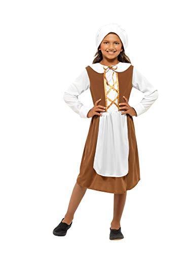Smiffys Kinder Tudor Mädchen Kostüm, Kleid, Mütze und Mock Schürze, Größe: L, 44015 (Für Kinder Kleid-up Kostüme)