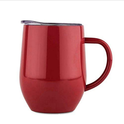 Vakuum-Thermobecher - Griff Gripped Edelstahl-Vakuum Insulated Tumbler mit Leakproof Lid Thermos-Kaffeetasse Kaffee & Tee-Reise-Becher Halten Hot & Cold-rot (Rote Tassen Trinken)