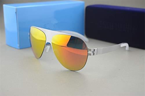 LKVNHP Hochwertige Sonnenbrille Markendesigner Franz Promi Handgefertigte Spiegel Sonnenbrille Männer & Frauen Gold Flash Pilot Aviator SonnenbrilleSilber Vs Rot
