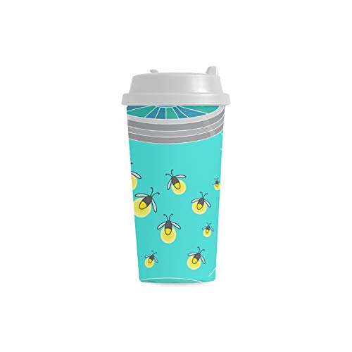 n Fliegen Licht Gewohnheits personalisierter Druck 16 Unze doppelwandiger Plastikisolierte Sport Wasser Flaschen Schalen Pendler Reise Kaffeetassen für Studenten Frauen Teetasse ()