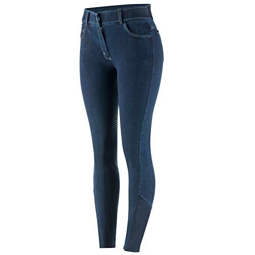 netproshop Damen Jeans-Reithose Strapazierfähiger Denim mit Silikon-Vollbesatz, Damengroesse:42, Farbe:Dunkelblau