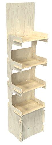 Cemab italo, espositore in legno 4 piani per negozi con montaggio ad incastro