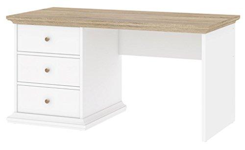 Paris Schreibtisch Tisch Bürotisch Home Office Weiß / Eiche Struktur