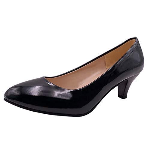 Studio Damen Schwarz Heels Sandalen (uirend Schuhe Pumps Damen - Mädchen Runde Spitze Niedrige Kitten Heel Schuhe Lack Leder Pumps Studio Arbeit Hochzeit Abend Business Freizeit Klassische)