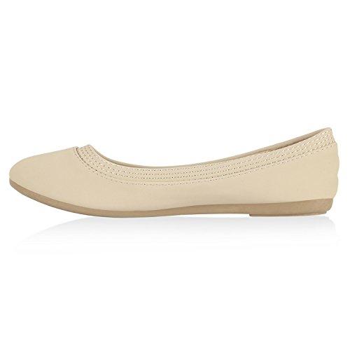 Klassische Damen Ballerinas Lederoptik Flats Basic Slipper Creme Nähte