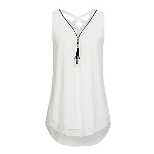 ZIYOU Damen Ärmellose Chiffon Bluse, Frauen Sommer Elegant Weste Top Hemdbluse Unregelmäßigkeit Casual Unterhemd Shirts (Weiß, EU-48/CN-3XL) (Gefüttert Lange Ärmel Bluse)
