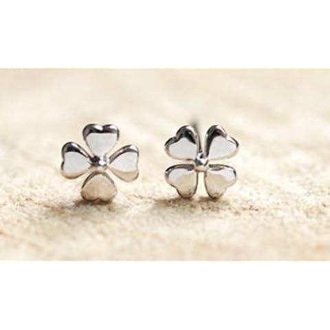 Suya Argento/Handmade/femmina//925argento orecchini/orecchini a forma di quadrifoglio portafortuna/regali