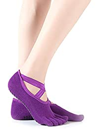 Calcetines antideslizantes yoga algodón para las mujeres aéreas Grips Calcetines para Pilates Danza Ballet Barre (