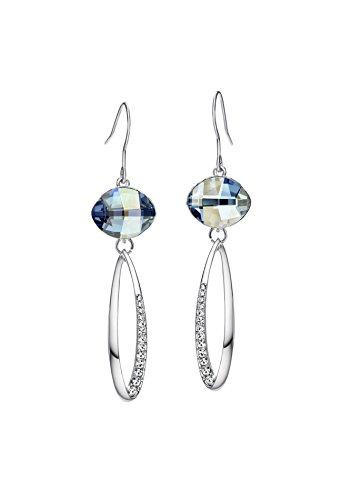 Ananth gioielli da donna cristalli SWAROVSKI e strass motivo geometrico placcato platino orecchini lunghi blu
