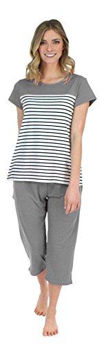 Frankie & Johnny Schlafanzug für Damen, T-Shirt mit Kurzen Ärmeln und Caprihose, Pyjama (FJ1944-1063-EU-XL)