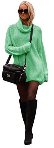 Damen Strickpullover Sweater Rollkragen Pullover Jumper Strick Pulli Oversize (648) (Mint)