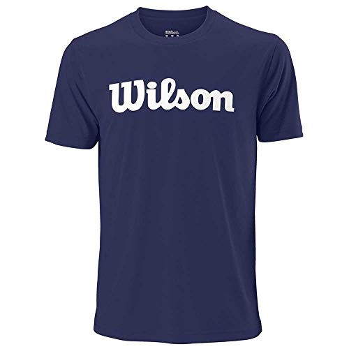 WILSON Herren Tennisshirt UWII Script Tech Tee Kurzarm blau (296) L - Blau Tennis Shirt