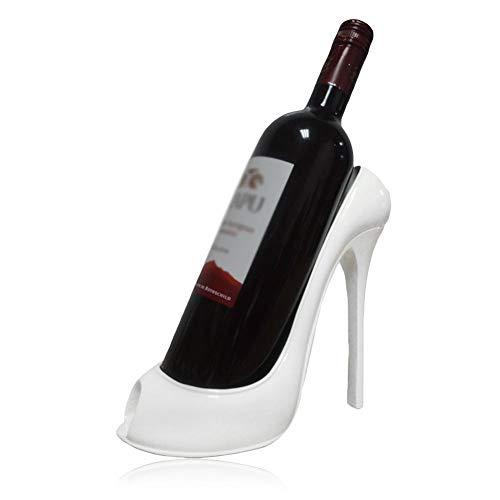 KEIBODETRD Innovador soporte para botellas de vino con forma de tacón alto para decoración de mesa de salón o boda blanco