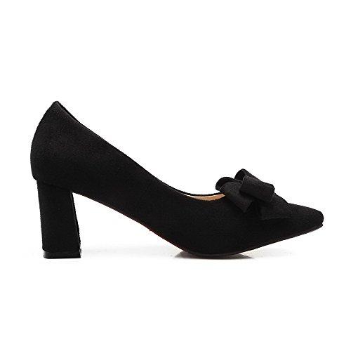 AllhqFashion Femme Tire Pointu à Talon Correct Dépolissement Couleur Unie Chaussures Légeres Noir