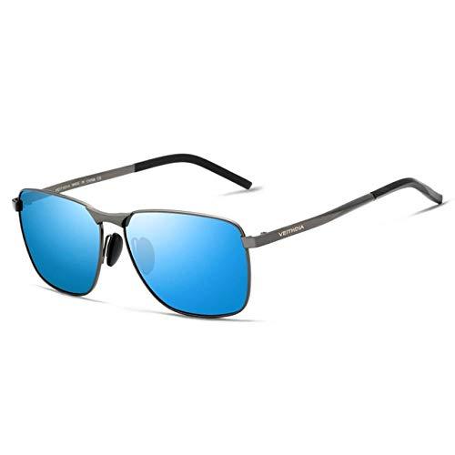 GY-HHHH Klassisches Retro-Outdoor-EssentialHerren Polarized Sonnenbrillen Square Full Frame Sonnenbrillen-blau