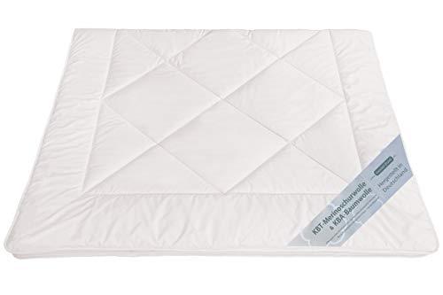 moebelfrank Bettdecken KBT Merino Schafschurwolle Winter Decke Bio KBA Baumwolle waschbar Natalia, Größe:135 x 200